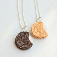 Oreo Inspired Cookies Best Friends Food Necklaces - Food Jewelry
