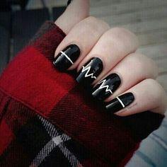 White and Black Acrylic Nails