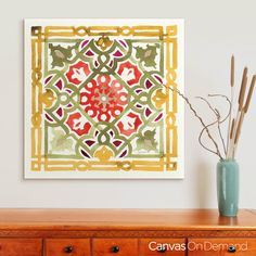 Create a chic bohemian vibe in your space with colorful and eclectic wall art. Check out this watercolor print of a decorative tile design by Anne Tavoletti at CanvasOnDemand.com.