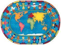 "Hands Around the World© Classroom Rug, 7'8"" x 10'9""  Oval"