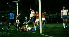 Luxembourg 0 England 4 in Nov 1983 in Vaduz. Bryan Robson scores for England in the European Championship Qualifier.