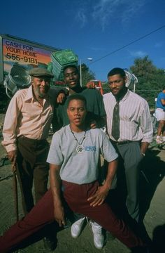 """Boyz In The Hood"" (1991) - On set with Whitman Mayo, Cuba Gooding Jr., Morris Chestnut,  and Laurence Fishburne"