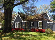 grey house white trim black shutters