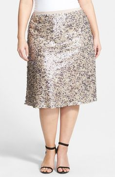 Dantelle Sequin Midi Skirt (Plus Size) available at #Nordstrom
