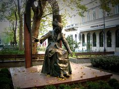 Franz Liszt pianist while playing an invisible piano in Liszt Ferenc Square. Come and visit Budapest to see in real :).
