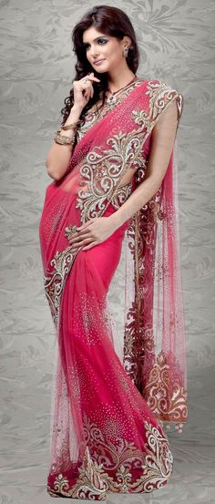 Deep Pink Net #Saree with #Blouse @ $948.60 | Shop Now @ http://www.utsavfashion.com/store/sarees-large.aspx?icode=sde33