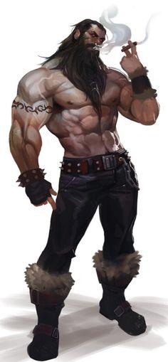 character concept human male torso smoke fur beard http://siakim.deviantart.com/art/Brolaf-bot-560028505