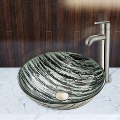 Pazo Rising Moon Glass Vessel Sink and Seville Faucet Set
