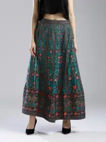 Wishful by W Women Navy & Green Printed Maxi Flared Skirt