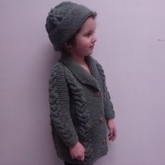 Saraid toddler coat and hat with cables | Craftsy
