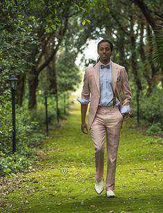 ONGala 1003 - Pink Linen Wedding Suits with Metallic Effect