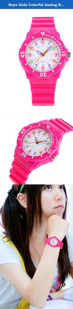 Boys Girls Colorful Analog Resin Waterproof Strap Sport Watches Rose. Fashionable,Amazing looking watch, a great gift for friends. Import movement 30ATM waterproof ,please don't press any button under the warter Easy to set the time feature.
