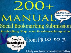 i will Manually submit your website or blog or video links to 200+  Social Bookmarking Site. Services including Top 100 sites (PR 10 to 3)and trust to your website to help increase its Search engine ranking.
