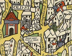 Old Street features a headless horseman and a man sticking his tongue out (on the toilet?). | 9 Wonderful Details From A Hundred-Year-Old Map Of The London Underground