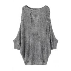 OASAP Slouchy Bat Sleeved Hollow Out Sweater ($30) ❤ liked on Polyvore featuring tops, sweaters, slouch sweater, loose fit tank tops, loose fit tops, loose tank tops and loose tops
