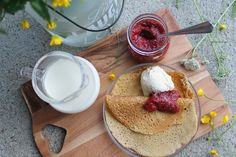 Glutenfree crepes and strawberrychia jam