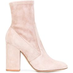 Valentino Garavani stretch ankle boots ($1,055) ❤ liked on Polyvore featuring shoes, boots, ankle booties, heels, footwear, botas, heeled booties, pink ankle boots, high heel ankle booties and leather booties