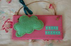 Handmade Felt Cloud 'Sweet Dreams' Sign-choice of 2 colours. Bedroom Door Signs, Local Craft Fairs, Alphabet Stickers, Mollie Makes, Handmade Felt, Fairy Land, Home Decor Items, 2 Colours, Felt Crafts
