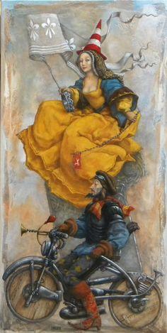 Catherine Chauloux, La voilà la blanche hermine - Huile sur toile - 50 x 100 cm