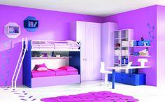loft bed for girls with desk Teen Bedroom, Bedroom Decor, Bedroom Ideas, Bat Mat, Girls Bunk Beds, Purple Bedrooms, Awesome Bedrooms, Showroom, Sofa