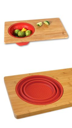 Bamboo cutting board with collapsable colander. Works over the sink.