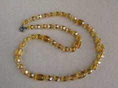 Vintage Art Deco necklace Czech glass bead necklace Faceted