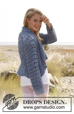 "Crochet DROPS jacket worked in a circle with lace pattern and long sleeves in ""Paris"".  ~ DROPS Design"