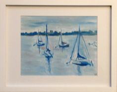 """""""Boats in the Harbor"""" Mated unframed print 11""""x 14"""" in mat 10% of sales go to the One Fund"""