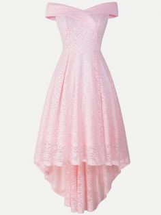V-neck Irregular Hem Tank Lace Party Skater Dress - Vinfemass Dresses For Teens Dance, School Dance Dresses, Cute Prom Dresses, Prom Outfits, Lace Party Dresses, Simple Dresses, Dress Outfits, Pretty Dresses, Pink Fashion