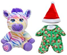 Build a Bear Colorful Rainbow Striped Zebra 7 in. Buddies Plush Stuffed Toy Animal with Reindeer Sleeper PJs Pajamas Outfit Absolutely Adorable Fantastic Gift Idea In Stock Now at http://www.bonanza.com/listings/Build-a-Bear-Rainbow-Striped-Zebra-7-in-Buddies-Reindeer-Sleeper-PJs-Outfit/229253864