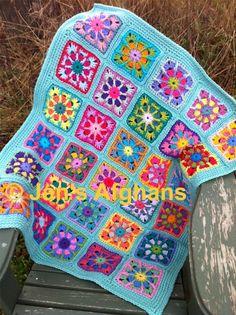 "Kaleidoscope crocheted BABY afghan baby blanket 30""x36"" kaleidoscope combo 2 granny squares turquoise (light seafoam) border READY to SHIP. $60.00, via Etsy."