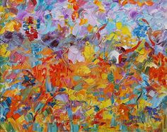 """Daily Painters Abstract Gallery: Original Palette Knife Flower Painting """"Breath of Summer"""" by Colorado Impressionist Judith Babcock"""