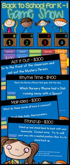 Back to School Jeopardy style game show for Kinder-1st Grade.. tho 2nd-4th will have just as much fun! Want to have some FUN on those first few days of school? Here is a suggestion: a GAME SHOW!! Five fun categories that will get your kids laughing, thinking, and up out of their chairs for a really good time. Make sure you have your camera ready! $