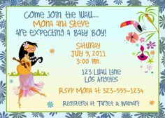 Baby shower luau theme beach invitation Luau theme Luau baby