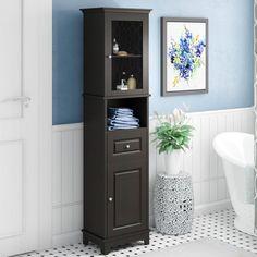 Three Posts New Paltz x Linen Storage Tower Cabinet Shelving, Tall Cabinet Storage, Bathroom Flooring, Bathroom Furniture, Salon Furniture, Bathroom Linen Cabinet, Bathroom Shelves, Tall Bathroom Cabinets, Bathroom Tower