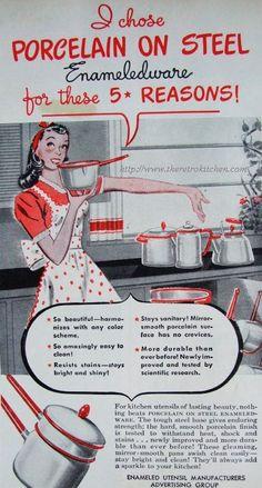 Vintage enameledware enamel ware... white and red enamel ware... porcelain on steel pots and pans..