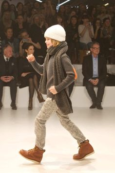 Teenage boys had layered looks and knitted hats too for winter 2013 fashion