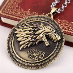 Collar de juego de Tronos Casa Stark Se Acerca El Invierno Cresta de La Familia de Bronce y plata Metálica Enlace joyería de cadena pendiente de
