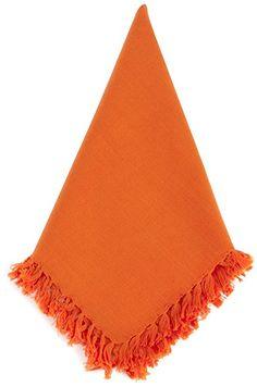 SARO LIFESTYLE 1234.TG20S 4-Piece Square Napkin, 20-Inch, Tangerine Review Cloth Napkins, Lifestyle