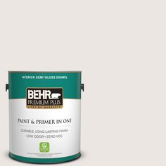 BEHR Premium Plus 1-gal. #PR-W12 Timid White Semi-Gloss Enamel Interior Paint