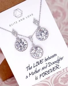 Silver Round CZ Jewelry Set, round cubic zirconia, bridal wedding jewelry, earrings, necklace, bracelet, brides, bridesmaid, mother of bride, mother of groom, personalised message, www.glitzandlove.com