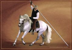 This is Manolo riding WolfeMen stallion in garrocha, preparing for their show at Equitana Melbourne in 2012.