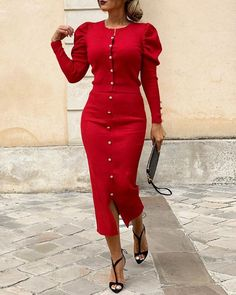 Solid Buttoned Puff Sleeve Top & Slit Skirt Sets - Just Shop Workwear Fashion, Fashion Outfits, Fashion Blogs, Fashion Trends, Estilo Fashion, Ideias Fashion, Slit Skirt, Skirt Set, Pencil Dress Outfit