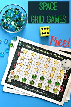 Space Theme Grid Games for Preschoolers - preschoolers so enjoy these free grid games, and they don't even realize they are practicing their counting while playing! Counting Activities For Preschoolers, Preschool Games, Free Preschool, Counting Games, Preschool Ideas, Toddler Activities, Teaching Ideas, Space Theme Preschool, Space Activities