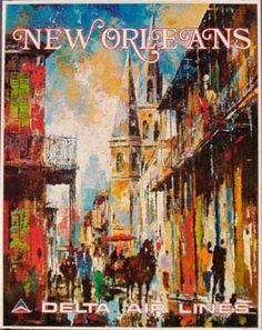 Delta Airlines Original Vintage Travel Poster New Orleans Laycox New Orleans Art, New Orleans Travel, Vintage Travel Posters, Vintage Postcards, Vintage Airline, Louisiana Art, Louisiana History, Vintage Magazine, Illustrations