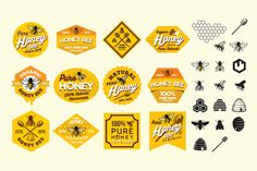 Honey Bee Labels Sticker  by G7 on @creativemarket