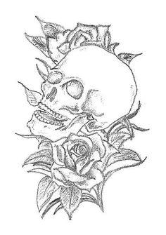 Skull and Roses Tattoo Design by carrieannnn on DeviantArt Skull Tattoo Design, Tattoo Designs, Heart Outline, Skulls And Roses, Rose Tattoos, Deviantart, Abstract, Artwork, Art Work