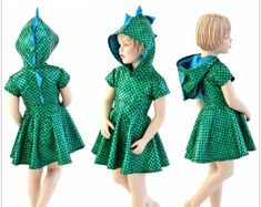Cap Sleeve Dragon Dino Hooded Skater Dress Toddlers and Girls Size and Green Round Scale w/ Peacock Spikes & Hoodliner 153930 Dinosaur Dress, Dinosaur Costume, Dragon Birthday Parties, Dragon Party, Girl Costumes, Cosplay Costumes, Costume Ideas, Girls Dragon Costume, Holographic Dress