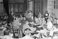 Sardar Patel at a Press Conference held in New Delhi on January 29, 1948. Mr. V. P. Menon, Secretary - Ministry of the States can be seen sitting at Sardar Patel's right, and Mr. N. C. Mehta, Secretary - Ministry of Information & Broadcasting appears at his left.
