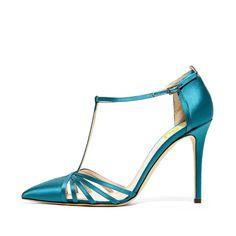 #FSJshoes - #FSJ Shoes Women's Blue Pointy Toe Formal Pencil Heel Pumps  T-Strap Sandals - AdoreWe.com